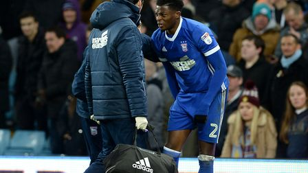 Dominic Iorfa, had a tricky time at Villa on Saturday for Town, and left the field holding his hamst