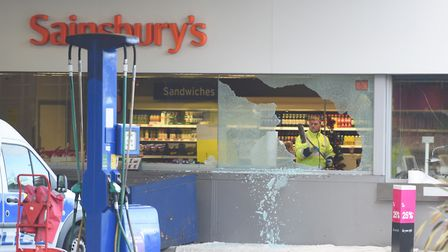 A clear-up operations is underway after Sainsbury's Warren Heath petrol station was broken into. Pic
