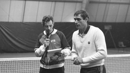 Tennis star Roger Taylor at the opening of a new indoor tennis court in November 1982