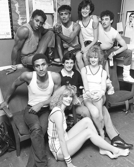 Ipswich Town star George Burley backstage at the sports fashion show in 1982