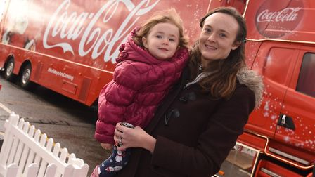 Coca Cola truck arrives in Ipswich. Left to right, Holly and Karen Harridge Picture: GREGG BROWN