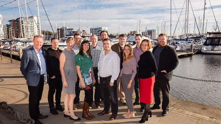 The Nicholas Jacob Architects team outside their office on the Ipswich Waterfront. Picture An