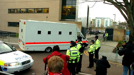 Tight security at Ipswich Crown Court for the arrival, in front of massed media attention, of Steve