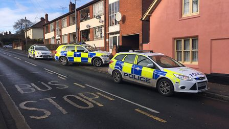There was a heavy police presence in Belstead Road following the police chase. Picture: ADAM HOWLET