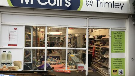 Ram raiders targeted the McColl's store in Trimley St Martin last night. Picture: ARCHANT