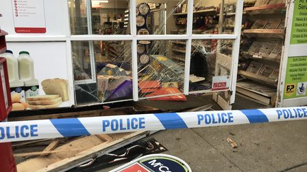 Damage caused to the McColl's store in Trimley St Martin after a ram raid. Picture: ARCHANT