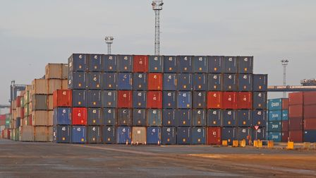 Containers at Felixstowe Port. Picture: MICK WEBB