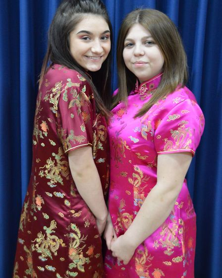 Princess Jasmine (Maddy Mayo) and her handmaiden Tingaling (Lily Bobby). The Orchard Players are sta