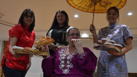 The Empress (Lynn Perera) and her courtiers (Laura Carney, Amanda Dack and Charlea Burwood). The Orc