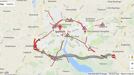 There was heavy traffic in Ipswich due to the closure of the Orwell Bridge. Picture: AA/GoogleMaps