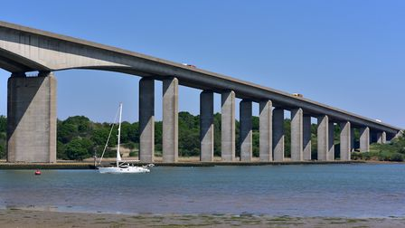 The Orwell Bridge in Ipswich was closed for much of the day. Picture: SARAH LUCY BROWN