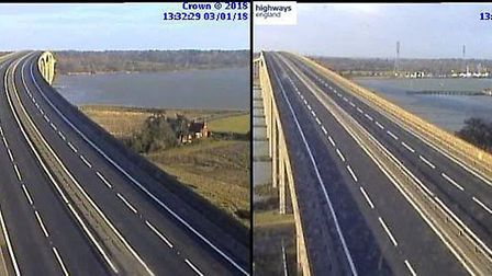 A14 Orwell Bridge deserted during the closure. Picture: HIGHWAYS ENGLAND