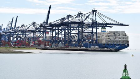 Felixstowe port was unable to load and unload containers during high winds. Picture: ANDREW MUTIMER