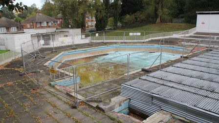 The training junior pool at Broomhill Swimming Pool in Ipswich. The metal scaffolding on the right i