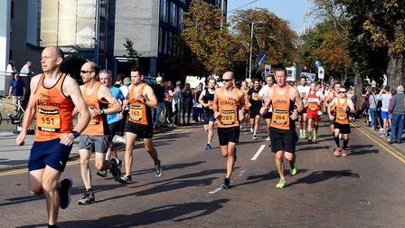 Runners pounding the streets of Ipswich during the Great East Run 2017. Picture: ANDY ABBOTT
