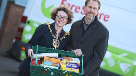 East Anglia sign up to the Fareshare charity in Ipswich today. Left to right, Mayor Sarah Barber and