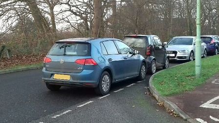 Some of the problem parking in Kesgrave for the weekly parkrun. Picture: PCSO MIKE SARBUTTS