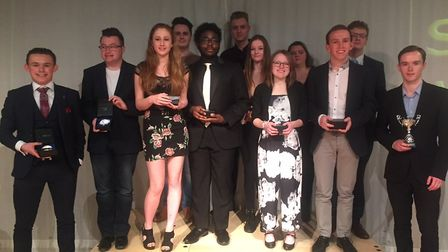 Students with their awards at Suffolk One. Picture: JOHN NICE