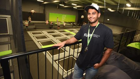 Flux Freestyle trampoline centre, Cardinal Park, Ipswich. Pictured is one of the company directors,