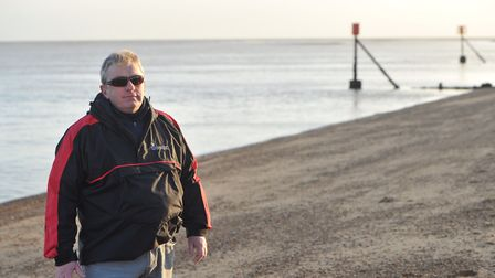 Chris Poole is devastated that his dog died after eating a crab on Felixstowe beach. Picture: SARAH