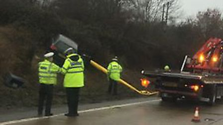 Audi crash near Orwell Bridge which resulted in a speed camera being knocked down. Picture: KYLE ABB