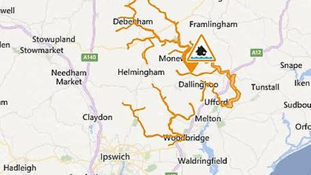 A flood alert has been issued for the areas surrounding the Rivers Deben and Lark in Suffolk. Pictur
