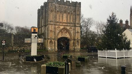 Snow falling on the Angel Hill in Bury St Edmunds. Picture: MICHAEL STEWARD