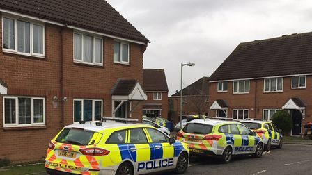 Armed officers are at the scene of an incident in Skylark Lane in Ipswich. Picture: TOM POTTER