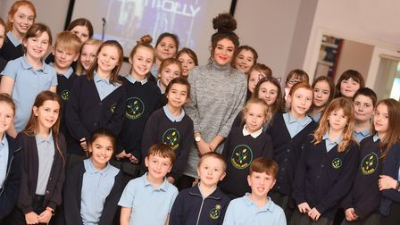 Tania chatting to pupils from Gorseland Primary School. Picture: GREGG BROWN
