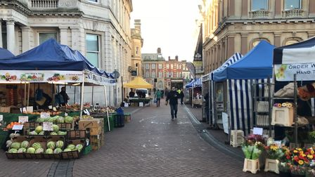 Ipswich market stalls will be moving from the Cornhill to the top of Princes Street. Picture: ROSS H