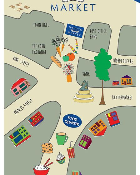 Ipswich Council has prepared this poster map to show where the market is now sited. Picture: IPSWICH