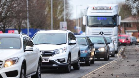 Heavy traffic along Grafton Way due to the closure of the Orwell bridge. Picture: SARAH LUCY BROWN