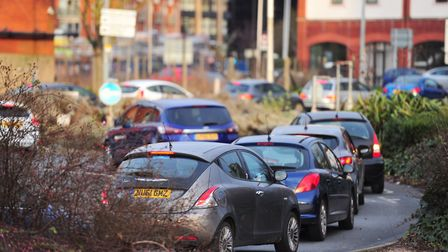 Heavy traffic in Ipswich due to the closure of the Orwell bridge. Picture: SARAH LUCY BROWN