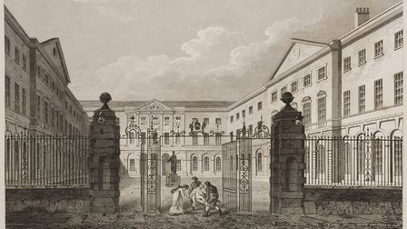 An 1820 engraving of the entrance of Guy's Hospital, London, by James Elmes and William Woolnoth. Ge