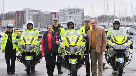 Suffolk County Council's Jane Storey and Police and Crime Commissioner Tim Passmore with the Road Ca