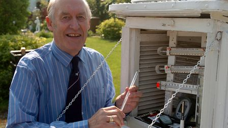Weatherman Ken Blowers kept records for nearly 70 years. He was pictured in 2007. Picture: CLIFFORD