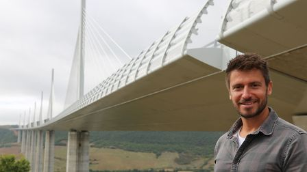 Presenter Rob Bell at the Viaduc de Millau - the windbreaks can clearly be seen. Picture: CHANNEL FI