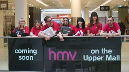 The HMV Ipswich team prepare to reopen their store in Sailmakers Shopping Centre. Picture: PAGEPIX
