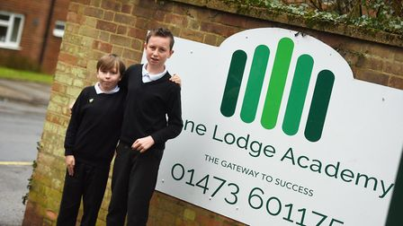 Stone Lodge Academy pupils left to right, Ashton Clarke and Julian Young. Picture: GREGG BROWN