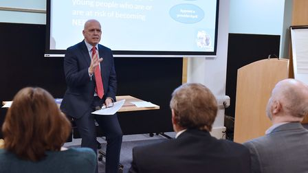 Terry baxter speaking at the Ipswich Opportunity Area launch event at IP-City Centre. Picture: JAMES