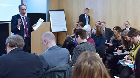 Richard Lister speaking at the Ipswich Opportunity Area launch event at IP-City Centre. Picture: JAM