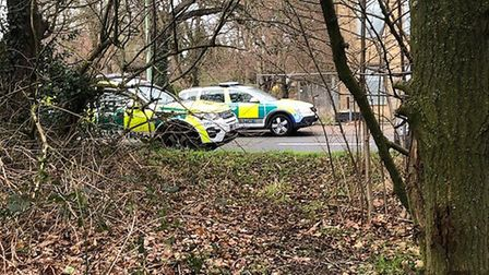 Emergency services at the scene of a crash involving a car and a motorbike in Hadleigh Road, Ipswich
