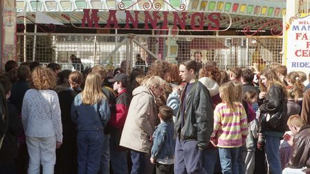 Queues waiting to enter the amusments in 1997