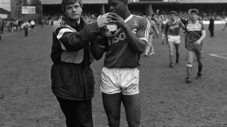Dalian Atkinson receives the match ball after scoring a hat-trick v Middlesborough in April 1988 fro