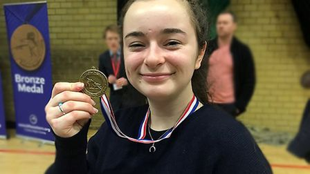 Matilda with her bronze medal from the Eastern Regional Fencing Championships. Picture: ROYAL HOSPI