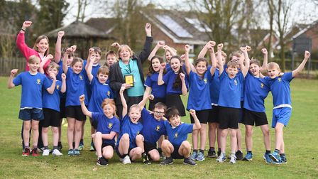 Whatfield Primary School celebrates being awarded gold level school games mark. Picture: GREGG BROWN
