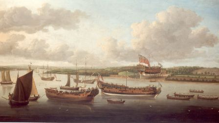 A painting by John Cleverley the Elder from 1748. It is a composition, placing a number of different