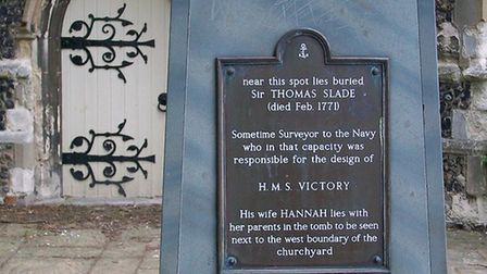 The memorial to Sir Thomas Slade in St Clement's Churchyard. Picture: JOHN NORMAN