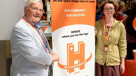 Deputy mayor Roger Fern and mayor Sarah Barber at the launch of the Help Our Homeless Project in Ips