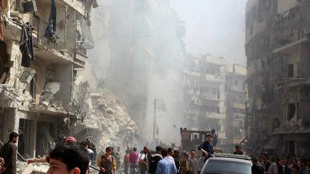 Devastation in Aleppo, Syria after an attack by jet fighters. Picture: AA/ABACAPRESS. COM